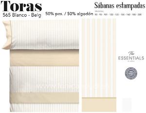 Juego Sábanas TORAS Blanco-Beig de Cañete