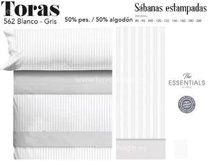 Juego Sábanas TORAS Blanco-Gris de Cañete
