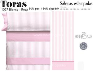 Juego Sábanas TORAS Blanco-Rosa de Cañete