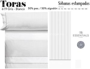 Juego Sábanas TORAS Gris-Blanco de Cañete