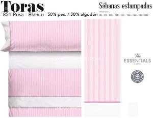 Juego Sábanas TORAS Rosa-Blanco de Cañete